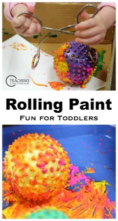 Toddler Process Art Using Sensory Balls Toddler Painting with Balls - The alternative to marble painting with no choking hazards. We chose sensory balls because the texture leaves nice paint trails. Energetic toddlers especially Toddler Art Projects, Toddler Crafts, Toddler Painting Ideas, Painting With Toddlers, Kid Crafts, Toddler Painting Activities, Preschool Painting, Nursery Activities, Library Activities