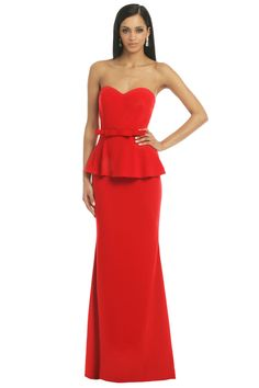 Badgley Mischka Rouge Rosalind Peplum Gown- love this in a softer color for the wedding