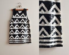1980s black and white sequined triangle top.