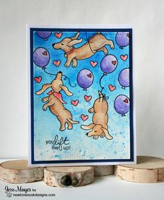 Dachshunds with Balloons Card by Jess Moyer | Delightful Doxies Stamp set by Newton's Nook Designs