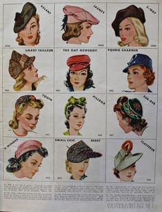 1940s vintage McCalls hat patterns from Va-Voom Vintage with Brittany