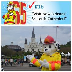 Sparky visited New Orleans' St. Louis Cathedral, the oldest Catholic cathedral in continual use in the country. While the current cathedral was Sparky The Fire Dog, St Louis Cathedral, Visit New Orleans, Catholic, Homeschool, Bucket, Roman Catholic, Buckets, Aquarius