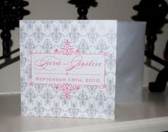 pink and grey wedding invitations | Trifold Wedding Invitation with Postcard RSVP- Nouvelle Suite Pink ...