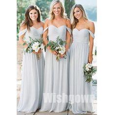 Charming Off the Shoulder Sweetheart Chiffon Long Cheap Bridesmaid Dresses e58492da26fa