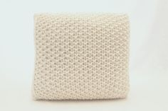 Medium Square Cushion Knitted in Moss Stitch by CottonwoodWorkshop