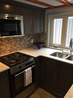 The full kitchen includes a gas range, refrigerator/freezer, stainless steel sink with commercial faucet, and upper cabinets.