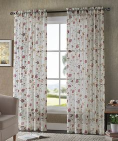 Another great find on #zulily! White Floral Sheer Voil Curtain Panel - Set of Two #zulilyfinds