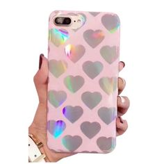 Girls' Lovely Fashion Laser Heart Pattern Stylish iPhone Case ($17) ❤ liked on Polyvore featuring accessories, tech accessories, iphone cover case and iphone sleeve case