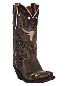 "Dan Post Womens Brown Vintage Leather Dreams Longhorn 11"""" Cowboy Boots"