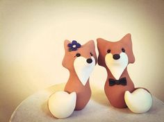 More poly clay fox caketoppers! Fox Custom Wedding Cake Topper by derekwoolever on Etsy, $65.00