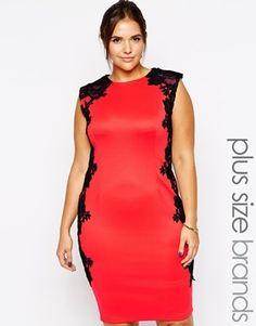 AX Paris Plus Size Pencil Dress with Lace Contrast Panels - Coral