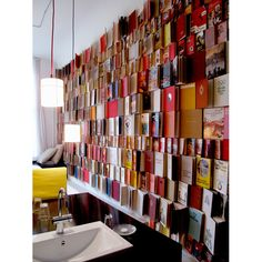 Bookwall in a studio at the Michelberger Hotel in Berlin, Germany