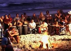 Drum Circle on the Beach. Do-Able scale: 10