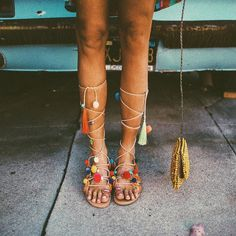 Coachella Shoes, Leather Sandals, Gladiator Sandals, Pom Pom Sandals, Miller Sandal, Sock Shoes, Casual Outfits, Flats, Fashion Shoes