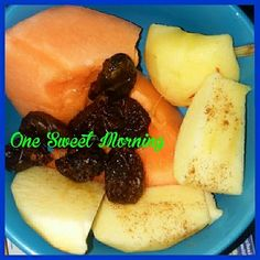 One #sweet #morning #start - #fresh #fruit #health #nutrition #colorful #natural #apple slices #cantaloupe dried #plums