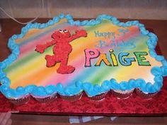 Elmo Cupcake Cake Stripe idea