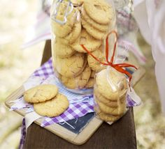 A chocolate chip cookie and custard cream in one - super-simple and they'll keep in the biscuit tin for a fortnight