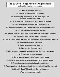 top 20 good things about diabetes