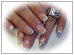 Young Nails french manicure cover pink silver glitters