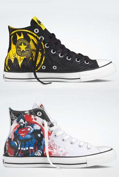 For your inner super hero :) (They come in women's sizes, too) from Full Frontal Fashion & Converse Outfits With Converse, Converse All Star, Converse Shoes, Converse Chuck Taylor, Batman Converse, Batman And Superman, Superman Outfit, Super Hero Outfits, Full Frontal