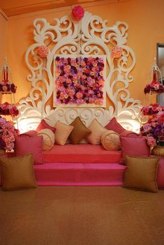 Great setup for a sangeet or home decor for a desi wedding Stage Decorations, Indian Wedding Decorations, Flower Decorations, Quince Decorations, Wedding Prep, Wedding Stage, Desi Wedding, Wedding Planning, Mehndi Decor