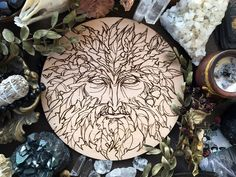 Wooden pentacle with engraving Green Man related to natural vegetative deities. Purple Candles, Witch Shop, Wood Burning Art, Gold Wood, Pentacle, Candle Set, Green Man, Dark Wood, Deities