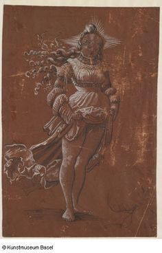 Anonym, Schweiz (Basel), 16. Jh. Niklaus Manuel gen. Deutsch (zugeschrieben / attributed to) Bern um 1484–1530 Bern Stehendes Mädchen mit Heiligenschein und geschürztem Rock (auch: Weib mit Heiligenschein)
