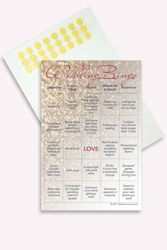 Winter wedding ideas: Entertain your guests with Wedding Bingo, the wedding reception bingo game. No need to worry about whether your guests who don't dance are having fun and thinking of leaving early when you have wedding reception games. They'll be completely entertained and paying attention to every detail of your big day while they play Wedding Bingo. This set contains 50 printed cards with gold dot stickers attached for marking the squares.