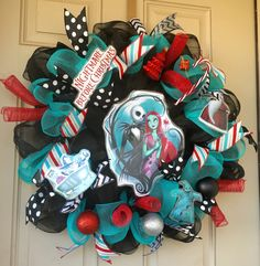 Nightmare Before Christmas Wreath Turquoise and by WondrousWreath