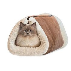 NEW! 2-in-1 Tunnel Bed and Cat Pet Soft Self-heating Warm Mat House Machine Washable (App.84.5cmx53.5cm/33.27''x21.06'', Khaki) * Check out the image by visiting the link.(It is Amazon affiliate link) #CatsLover