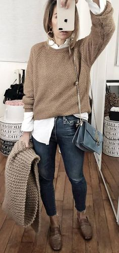casual style addiction nude sweater white shirt bag skinny jeans shoes
