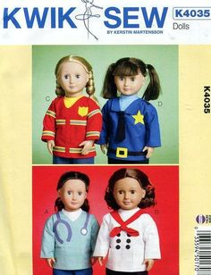 Sewing Pattern Free Us Ship Kwik Sew 4035 American Girl Tops Dr Nurse Chef Fireman Policeman Out of Print Doll Clothes Wardrobe by LanetzLiving on Etsy Kwik Sew Patterns, Doll Sewing Patterns, Simplicity Sewing Patterns, Craft Patterns, American Dolls, American Girl, Cute Skirts, Girl Dolls, Doll Clothes
