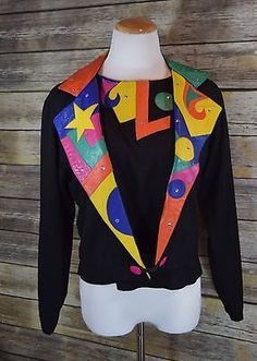 Black Crop Leather Patches Rhinestone Studded Vintage Jacket & Blouse 80's. Sz S
