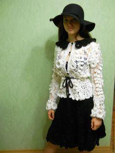 """Купить Костюм""""Парижанка"""" - чёрно-белый, цветочный, ажурный узор, кружево, Вязание крючком, вязание на заказ"""