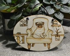 Pug gift for friend, Pug picture, Living room décor, Dog lover gift, Wood burned pug portrait, Pug in chair drawing, Oval wall hanging