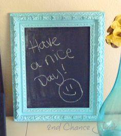 Teal Framed Chalkboard