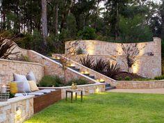 Backyard Garden Design Ideas - contemporary - Landscape - Other Metro - Space Landscape Designs Backyard Retaining Walls, Sloped Backyard, Sloped Garden, Backyard Garden Design, Backyard Patio, Retaining Wall Design, Stone Retaining Wall, Backyard Seating, Backyard Designs