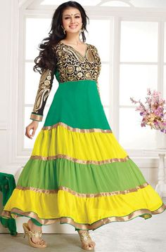 USD 28.07 Ayesha Takia Light Sea Green Bollywood Salwar Kameez 43182