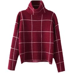 Blackfive Long Sleeves High Neck Cropped Check Sweater ($30) ❤ liked on Polyvore featuring tops, sweaters, shirts, jumper, longer sweater, long sleeve jumper, cropped sweater, purple sweater and long sleeve tops