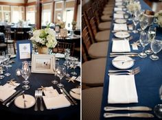 Beautiful wedding reception tables in blue