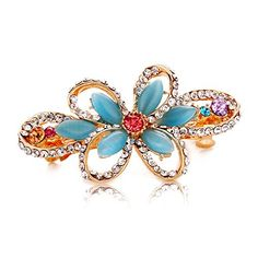 So Beauty Adorable Floral Shaped Cats Eye Gemstone and Rhinestone Hair Barrette Clip Accessary Blue >>> Read more at the image link. (This is an affiliate link) Hair Barrettes, Hair Clips, Barrette Clip, Brooch, Gemstones, Detail, Rings, Floral, Image Link