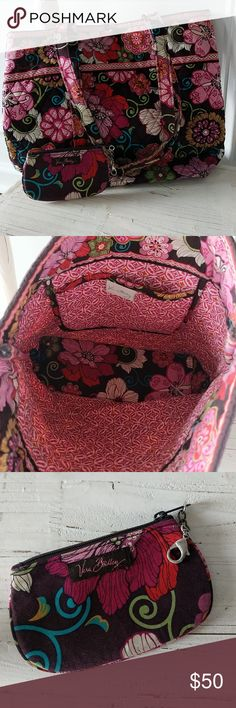 Vera Bradley Tote Bag and Coin Purse Set Vera Bradley tote bag with quilted, floral print and button closure. Brown background and multi-colors make it great for all seasons. Also has matching coin purse with visible ID slot on back. Vera Bradley Bags