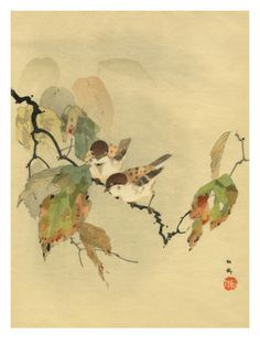 Sparrows with autumn leaves Giclee Print at Art.com, $92.99, stretched canvas