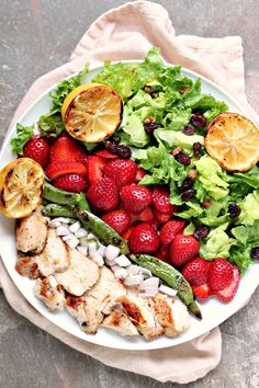 Grilled Chicken Salad and Strawberries from kissmysmoke.com. This grilled chicken salad with strawberries can be prepared quickly and adapted to your own taste. You can use fresh strawberries, or frozen. Just don't skimp on the add-in's!