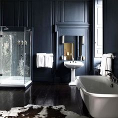 Navy walls in elegant bathroom with glass shower and freestanding tub