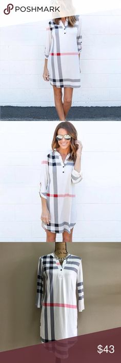 """⭐️ OJDC Shirt Dress AVAILABLE SOON ❗️ COMMENT BELOW TO BE NOTIFIED WHEN THIS ITEM IS AVAILABLE FOR PURCHASE   100% polyester blend   price firm unless bundled   measurements: (M: Bust 35"""" Length 34"""") (L: Bust 36"""" Length 35"""") (XL: Bust 38"""" Length 35"""")  don't miss out and guarantee you'll receive this when it becomes available by pre-ordering online with us at oceanjewelersdesignco.com OJDC Dresses"""