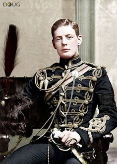Lt. Winston Churchill - February 1895 (He wears a black armband in acknowledgement of his father Lord Randolph Churchill who died the previous month)