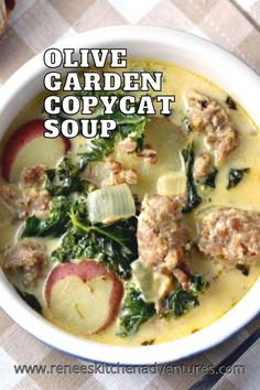 Olive Garden Copycat Soup by Renee's Kitchen Adventures. Easy homemade soup recipe for zuppa toscana using turkey sausage to make it a healthy soup recipe. Healthy Soup Recipes, Roast Recipes, Chili Recipes, Slow Cooker Recipes, Chicken Recipes, Dinner Recipes, Recipe For Zuppa Toscana, Zuppa Toscana Soup, Easy Homemade Soups