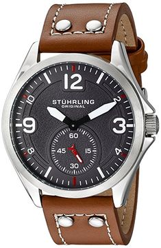 Original Tuskegee Stuhrling para hombre reloj infantil de cuarzo con esfera analógica gris y correa de piel color marrón 684,02