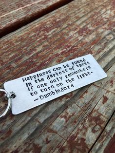Hand Stamped Keychain Harry Potter Dumbledore Key by IndyGifts